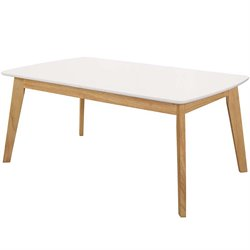 Walker Edison Retro Modern Coffee Table in Natural and White