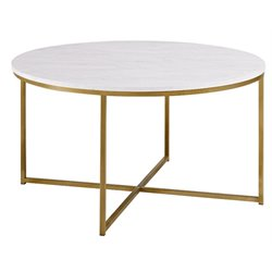 Walker Edison Round Marble Top Coffe Table in Gold