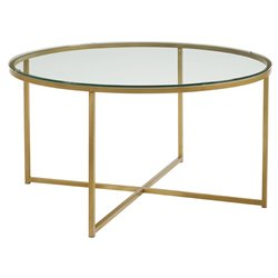 Walker Edison Round Glass Top Coffee Table in Gold