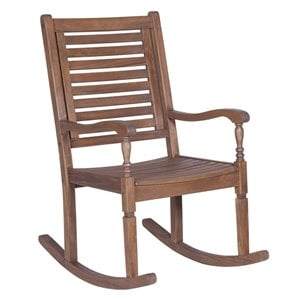 Outdoor Wood Patio Rocking Chair in Dark Brown