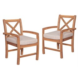 Walker Edison X-Back Patio Chair with Cushion in Brown (Set of 2)