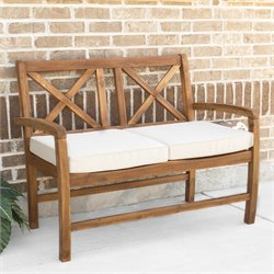 Walker Edison X-Back Patio Bench with Cushion in Brown