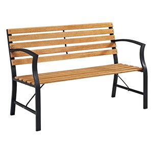 Walker Edison Patio Bench in Brown