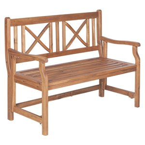 Walker Edison Acacia Patio Folding Bench
