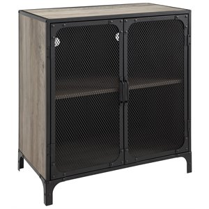 30 inch Industrial Grey Wash Accent Cabinet with Mesh