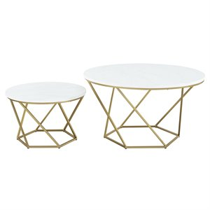 Modern Geometric Nesting Coffee Tables in Gold with White Faux Marble Top