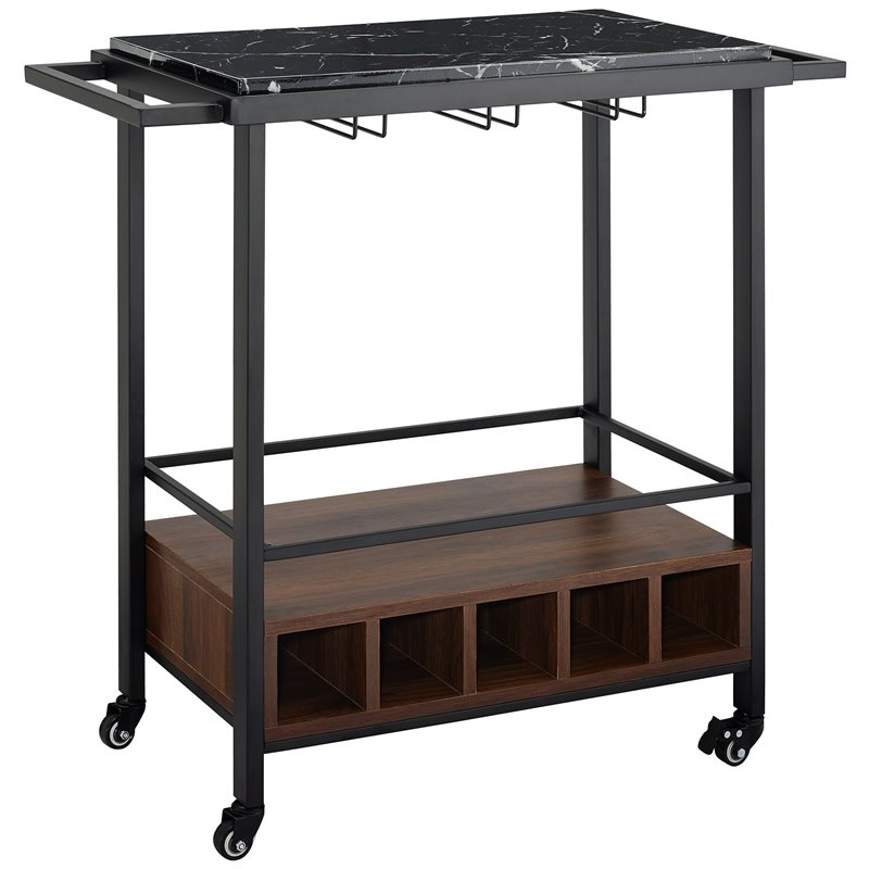 34 inch Black Faux Marble Serving Bar Cart with Dark Walnut Base