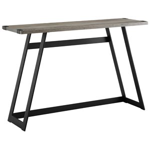 46 inch Metal Wrap Entry Table in Grey Wash