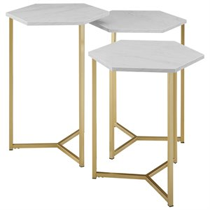 Hex Nesting Tables with Faux White Marble Top and Gold Base