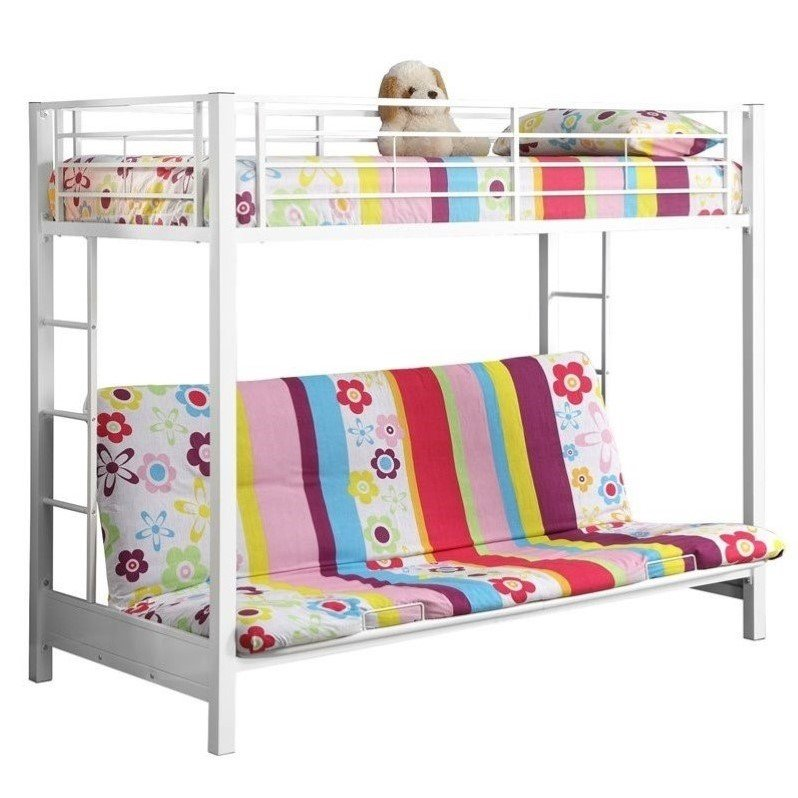 Metal Twin Over Futon Bunk Bed Frame 250 Pounds Dorm Hilale Universal Youth