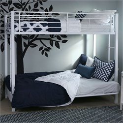 Metal Twin over Futon Bunk Bed Frame in White