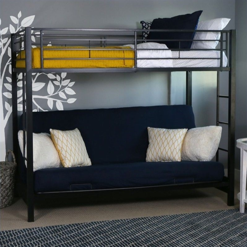 Walker edison sunset metal twin over futon bunk bed frame Black bunk beds