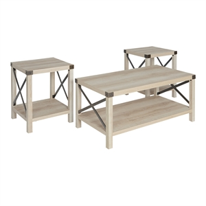 Walker Edison 3-Piece Rustic Wood and Metal Coffee Table Set in White Oak