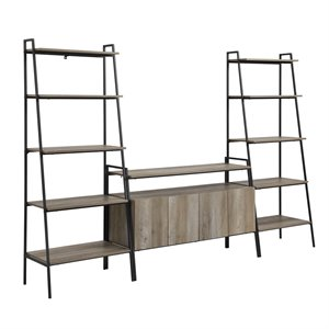 3-Piece Ladder Shelf Entertainment Wall - Grey Wash