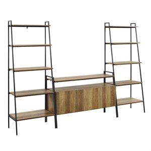 3-Piece Ladder Shelf Entertainment Wall - Reclaimed Barnwood