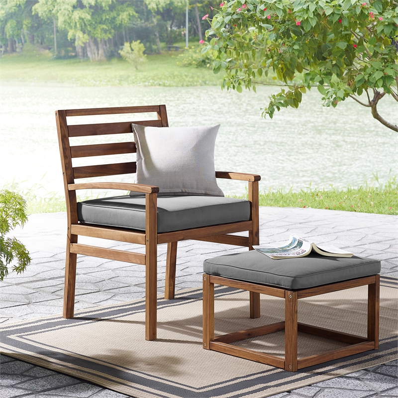 Strange Acacia Wood Outdoor Patio Chair Pull Out Ottoman Brown Beatyapartments Chair Design Images Beatyapartmentscom