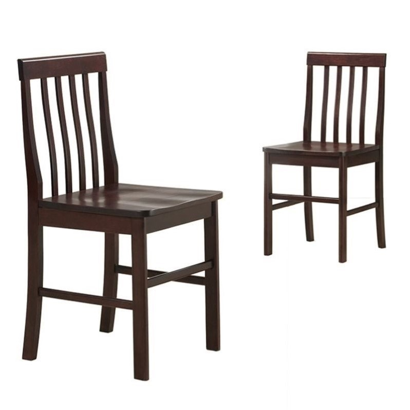Walker Edison Solid  Dining Chair in Espresso (Set of 2)
