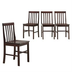 Walker Edison Solid  Dining Chair in Espresso (Set of 4)