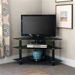 Walker Edison Bermuda 44 Inch Modern Metal and Glass Corner TV Stand in Black