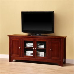 Walker Edison 52 Inch Solid Wood TV Stand with 4 Doors in Walnut Brown