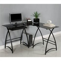 Walker Edison L-Shape Glass Computer Desk in Black