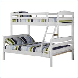 Walker Edison Twin Over Full Solid Wood Bunk Bed in White Finish
