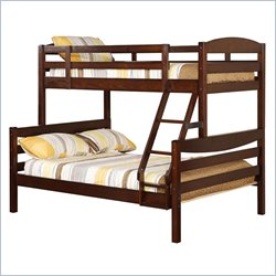 Walker Edison Twin over Double Solid Wood Bunk Bed in Brown Finish