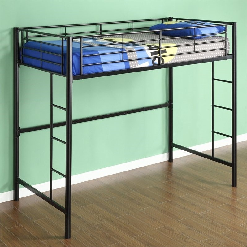 Walker edison sunset metal twin loft bunk bed in black Black bunk beds