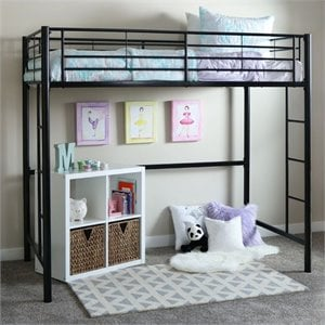 Walker Edison Sunset Metal Twin Loft Bunk Bed in Black