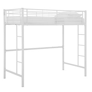 Metal Twin Loft Bunk Bed in White Finish