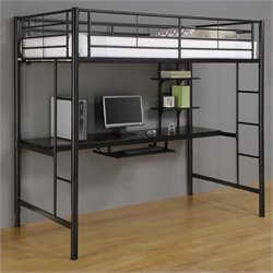 Walker Edison Sunset Metal Twin Workstation Loft Bunk Bed in Black