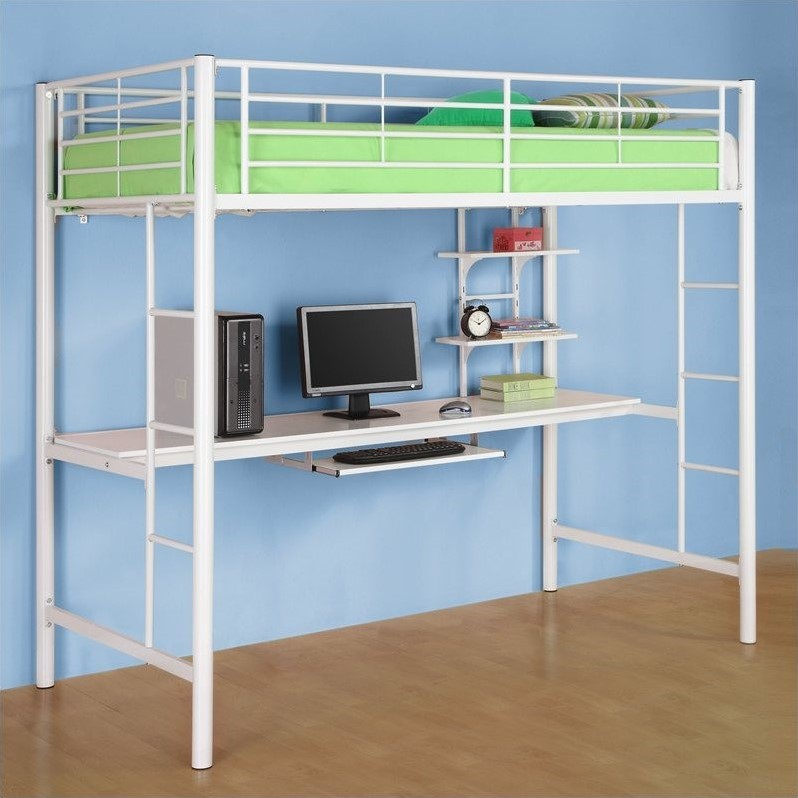 Sunrise Metal Workstation Twin Loft Bunk Bed in White