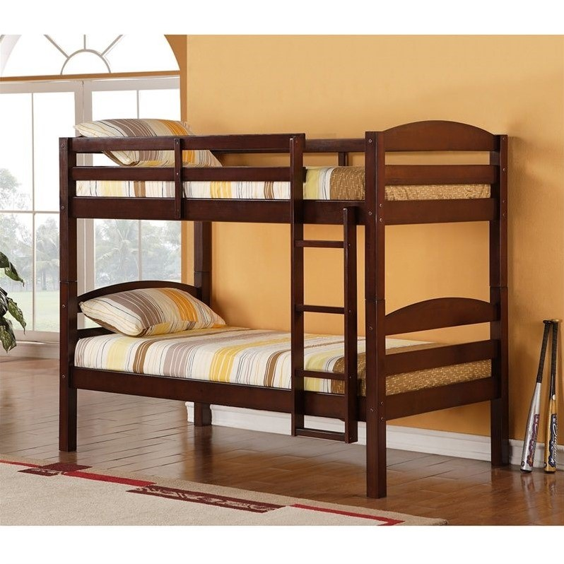 Walker Edison Twin Over Twin Solid Wood Bunk Bed in Espresso