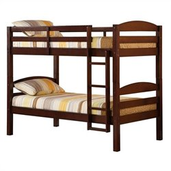 Walker Edison Twin Over Twin Solid Wood Bunk Bed in Espresso Finish