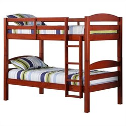 Walker Edison Twin Over Twin Solid Wood Bunk Bed in Cherry Finish