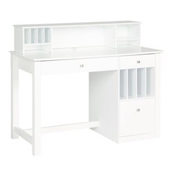 Walker Edison Deluxe Solid Wood Desk with Hutch in White