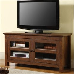 Walker Edison 44 Inch Full-Door Wood TV Console in Traditional Brown