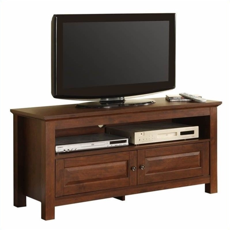 Walker Edison 44 Inch Wood TV Console in Traditional Brown