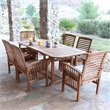 7 Piece Wood Patio Dining Set in Brown with Cushions