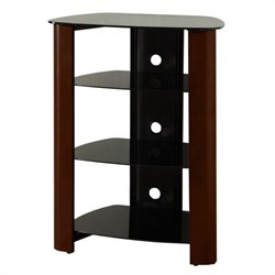 Walker Edison Regal Multi-Level Component Stand in Wood Espresso