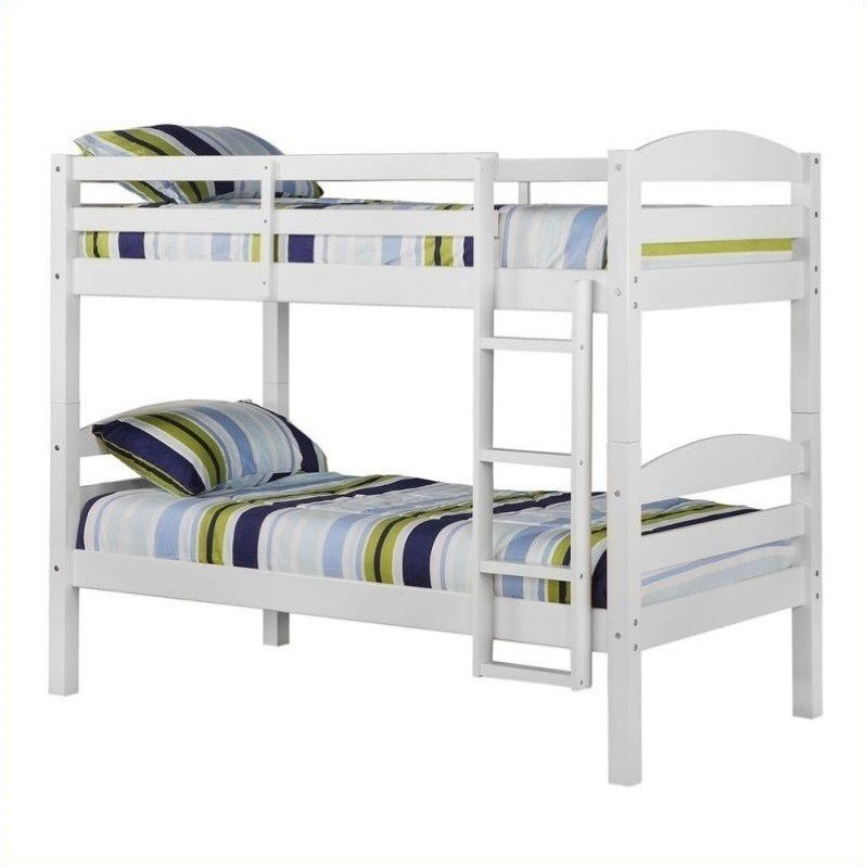 Twin/Twin Solid Wood Bunk Bed in White