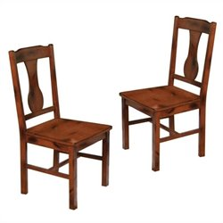 Walker Edison Huntsman Dining Side Chair in Dark Oak (Set of 2)