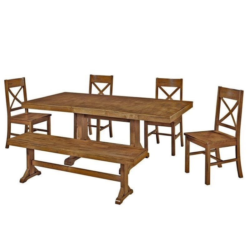 Walker Edison 6-Piece Millwright Wood Dining Set in Antique Brown