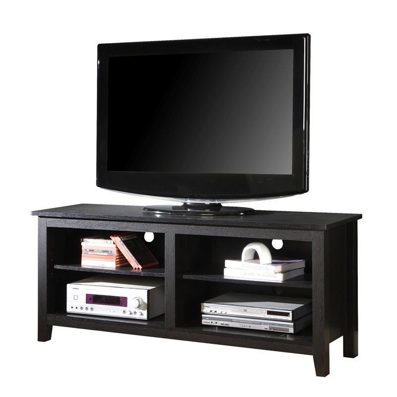 58 inch Simple Wood TV Stand Media Console in Black