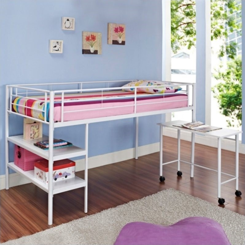 Walker Edison Twin Loft Bed with Desk and Shelves in White