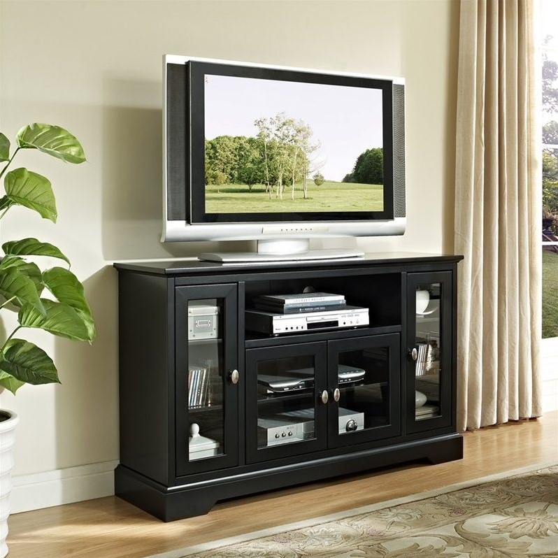 52 highboy style wood tv stand in black w52c32bl - Dresser as tv stand in living room ...