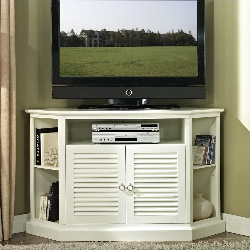 52 in. Wood Corner TV Console in White