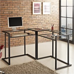 C-frame Glass and Metal L-Shaped Computer Desk in Black