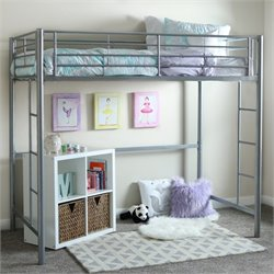Walker Edison Metal Twin Loft Bunk Bed in Silver