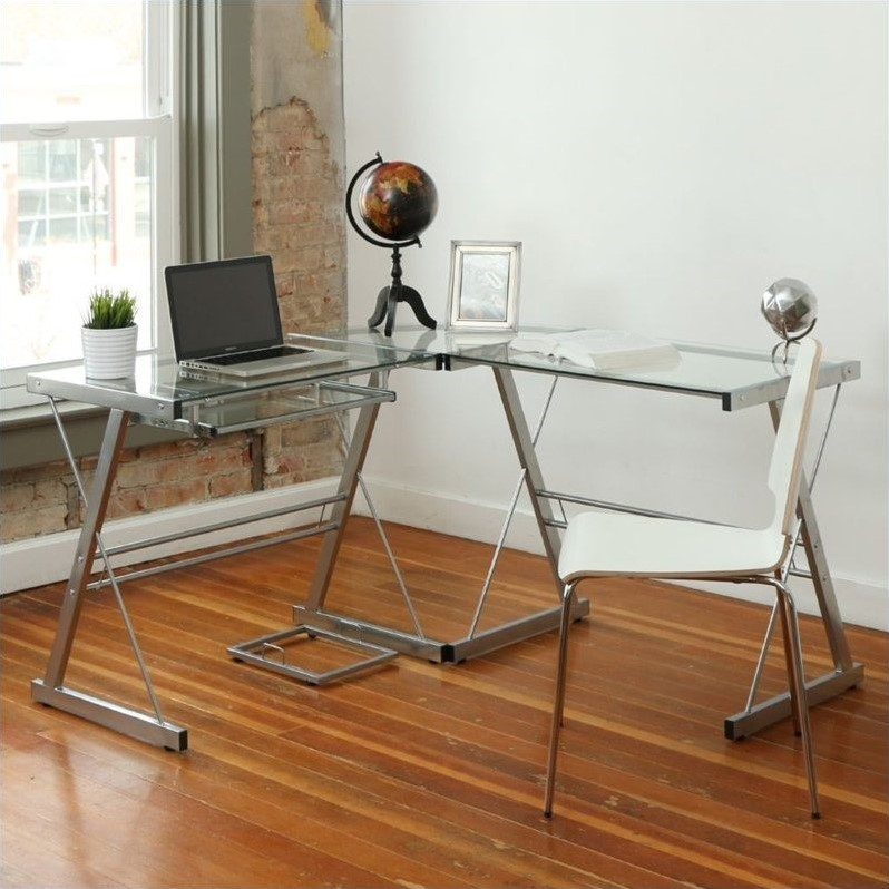 L Shaped Glass Top Computer Desk In Silver
